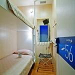 São cabines e não quartos, tamanho diminuto, com beliche e opcional de banheiro dentro ou fora. (Imagem: do site da empresa)